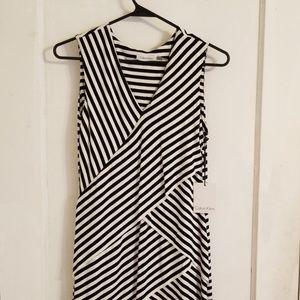 NWT Calvin Klein Striped Sleeveless Dress